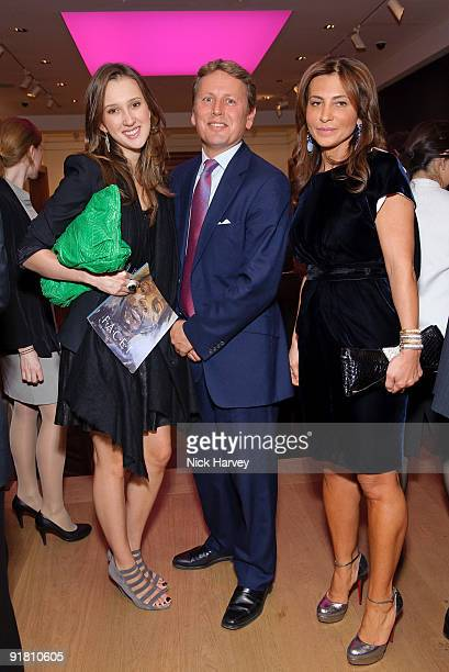 Maria Baibakova Jussi Pylkannen and Ella Krasner attend reception hosted by Graff held in aid of FACET at Christie's King Street on October 12 2009...