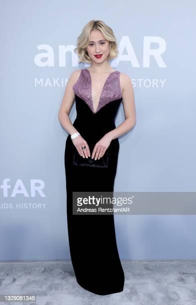 Maria Bakalova attends the amfAR Cannes Gala 2021 at Villa Eilenroc on July 16, 2021 in Cap d'Antibes, France.