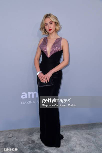 Maria Bakalova attends the amfAR Cannes Gala 2021 during the 74th Annual Cannes Film Festival at Villa Eilenroc on July 16, 2021 in Cap d'Antibes,...