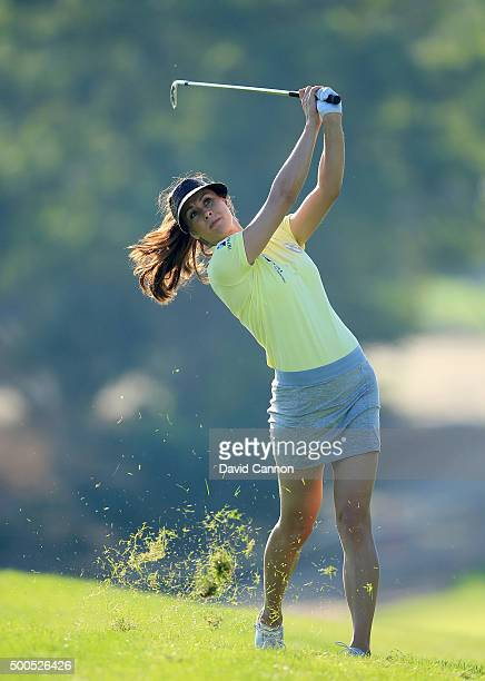 Maria Balikoeva of Russia plays her second shot at the par 4, 12th hole during the first round of the 2015 Omega Dubai Ladies Masters on the Majlis...