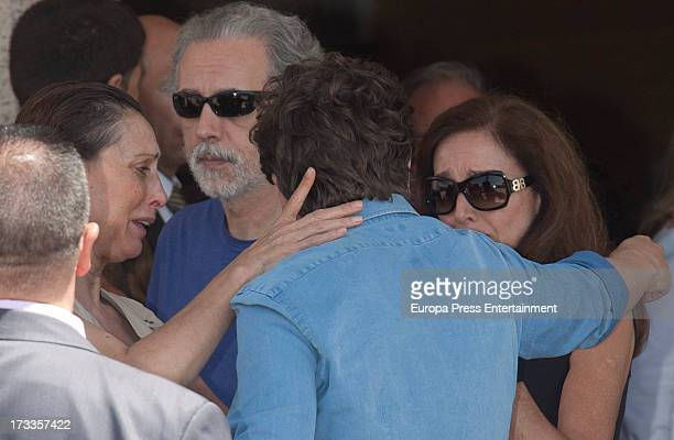 Maria Barranco Gabino Diego Ana Belen and David Trueba attend the funeral chapel for the journalist Concha Garcia Campoy at La Paz Morgue on July 12...