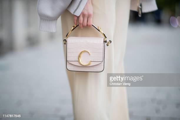Maria Barteczko is seen wearing beige wide leg pants The Row, beige mini bag Chloe on May 05, 2019 in Duesseldorf, Germany.
