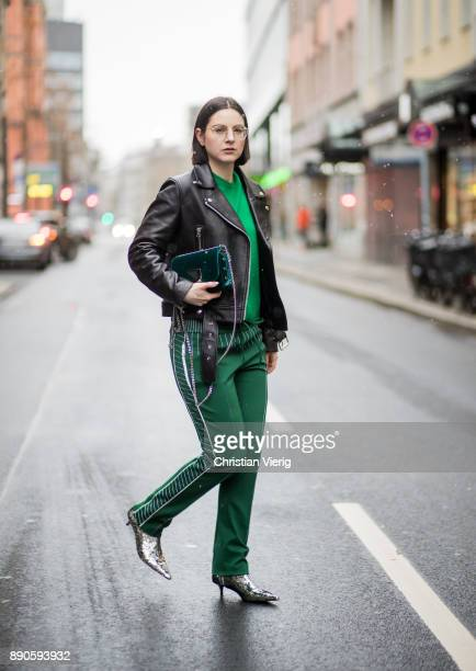 Maria Barteczko wearing black biker leather jacket Acne glasses green cashmere sweater Valentino green jersey track pants Valentino silver sequins...