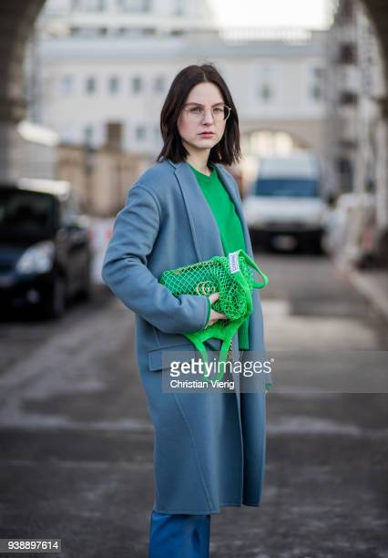 Maria Barteczko wearing light blue wool coat Celine green cashmere sweater Valentino blue straight pants Celine white pointy slingback pumps Zara...