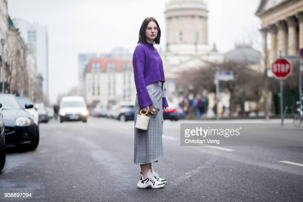 Maria Barteczko wearing purple cropped wool turtleneck HM grey checked wrap skirt Gestuz archlight sneaker Louis Vuitton nude mini leather bag Simon...