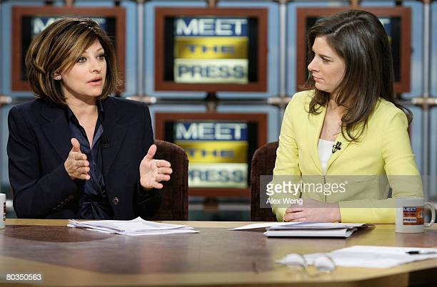 """Maria Bartiromo , anchor of CNBC's """"Closing Bell with Maria Bartiromo,"""" speaks as Erin Burnett , anchor of CNBC's """"Street Signs,"""" looks on during a..."""