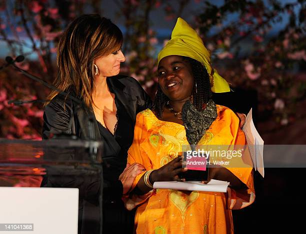 Maria Bartiromo and Chouchou Namegabe pose onstage at the 3rd annual Diane Von Furstenberg awards at the United Nations on March 9 2012 in New York...