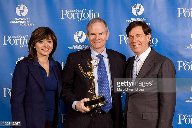 Maria Bartiromo CNBC Anchor Paul Steiger of the Wall Street Journal and Recipient of the Lifetime Achievement Award and Peter Price NATAS President