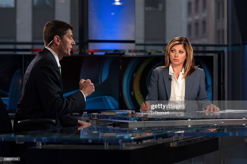 Maria Bartiromo (R) interviews United States Representative Paul Ryan at FOX Studios on September 29, 2014 in New York City.