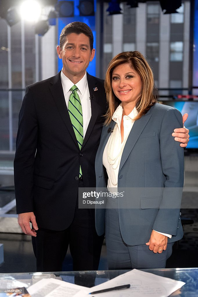 Maria Bartiromo (R) interviews U.S. Representative Paul Ryan at FOX Studios on September 29, 2014 in New York City.