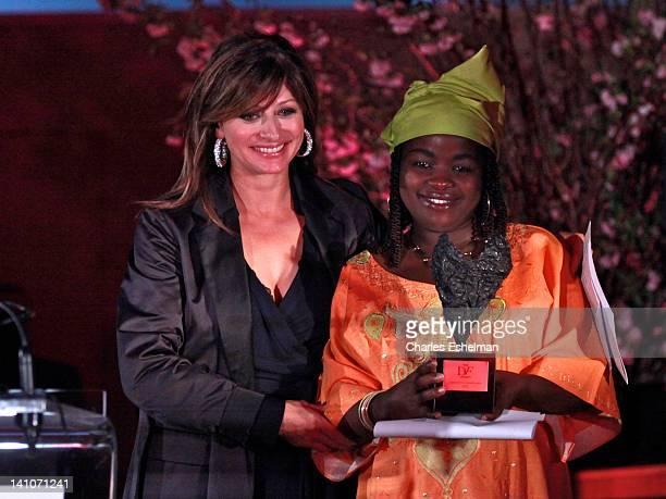 Maria Bartiromo presents award to South Kivu Congo journalist Chouchou Namegabe at the 3rd annual Diane Von Furstenberg awards at the United Nations...