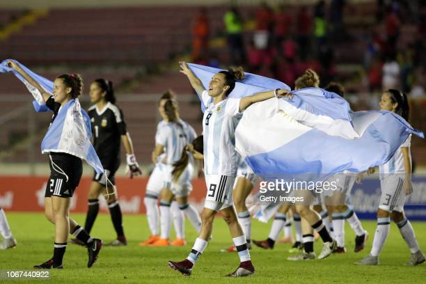 Maria Belen Potassa of Argentina celebrates during a second leg match between Argentina and Panama as part of Women's World Cup Qualifier Play Off on...