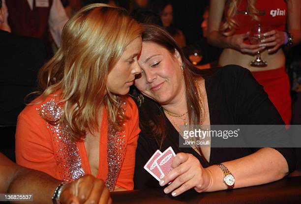 Maria Bello and Camryn Manheim during 2nd Annual Lakers Casino Night Benefiting the Lakers Youth Foundation Red Carpet and Inside at Barker Hanger in...