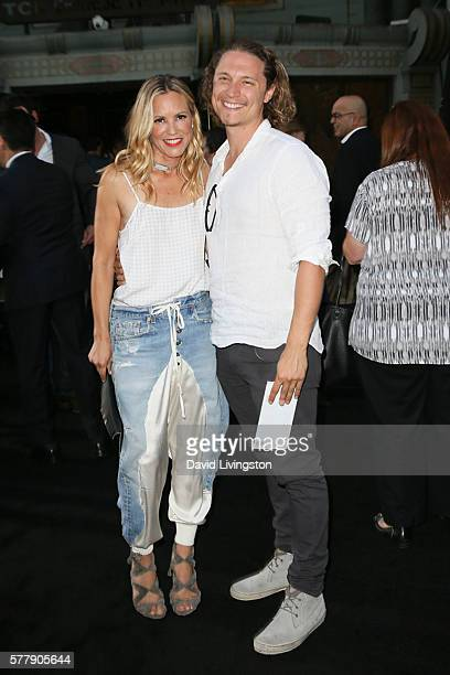 Maria Bello and Elijah AllanBlitz arrive at the premiere of New Line Cinema's Lights Out at the TCL Chinese Theatre on July 19 2016 in Hollywood...