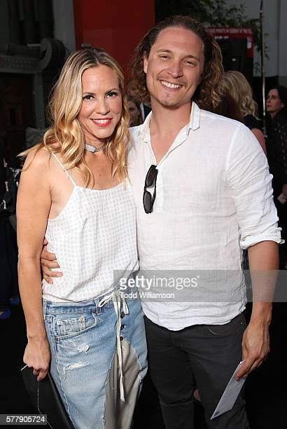 Maria Bello and Elijah AllanBlitz attend the Premiere Of New Line Cinema's Lights Out at TCL Chinese Theatre on July 19 2016 in Hollywood California