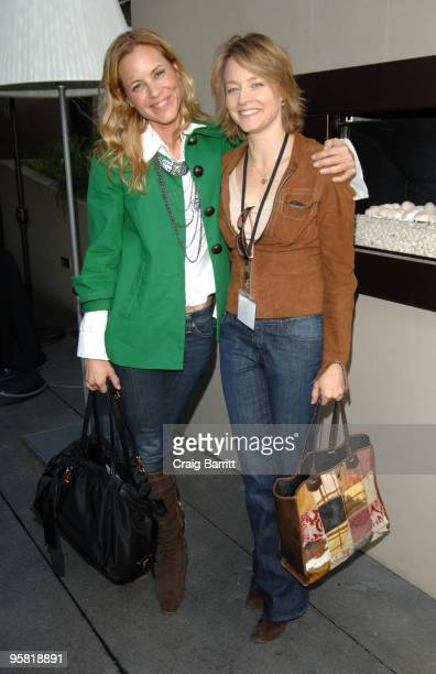 Maria Bello and Jodie Foster attend the Film Independent 2010 Spirit Awards Nominee Brunch at the BOA Steakhouse on January 16 2010 in Los Angeles...