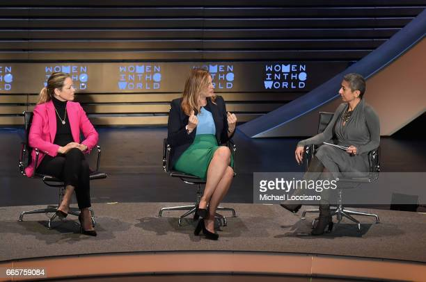 Maria Bello Janine Di Giovanni and Zainab Salbi attend the Eighth Annual Women In The World Summit at Lincoln Center for the Performing Arts on April...