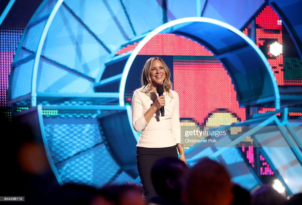 Maria Bello speaks onstage during the XQ Super School Live, presented by EIF, at Barker Hangar on September 8, 2017 in Santa California.