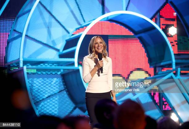 Maria Bello speaks onstage during the XQ Super School Live presented by EIF at Barker Hangar on September 8 2017 in Santa California