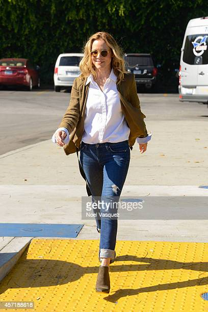 """Maria Bello visits """"Extra"""" at Universal Studios Hollywood on October 13, 2014 in Universal City, California."""