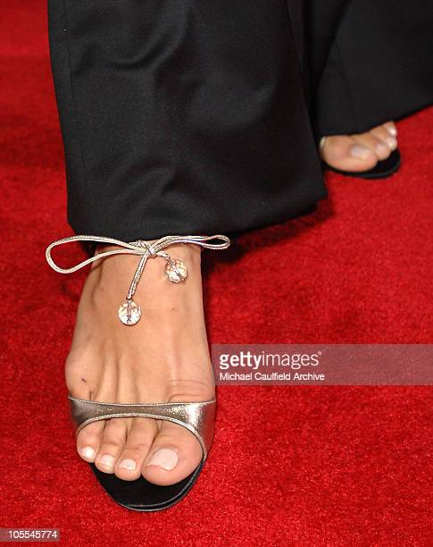 Maria Bello's Faerragamo shoes during 'A History of Violence' Los Angeles Premiere Red Carpet at Egyptian Theatre in Los Angeles California United...