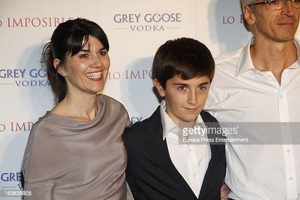 Maria Belon and her family attend the premiere after party by Grey Goose on October 8, 2012 in Madrid, Spain. The film is based upon the events...