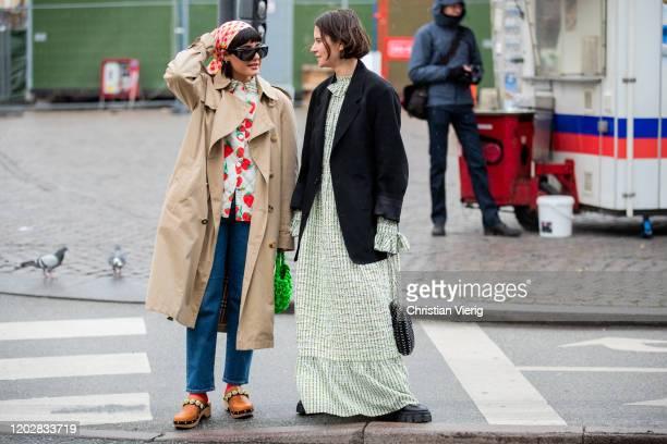 Maria Bernad and Marta Cygan seen outside Helmstedt during Copenhagen Fashion Week Autumn/Winter 2020 Day 2 on January 29, 2020 in Copenhagen,...