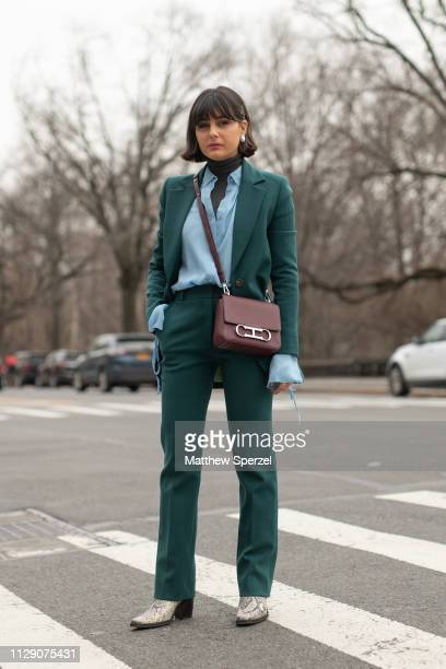 Maria Bernad is seen on the street during New York Fashion Week AW19 wearing Carolina Herrera on February 11, 2019 in New York City.