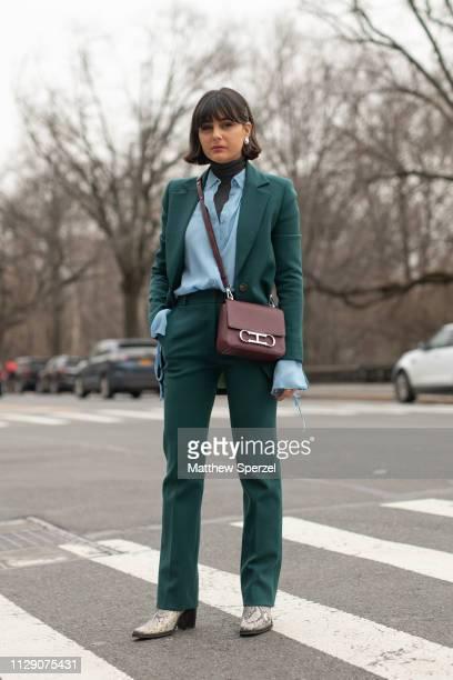 Maria Bernad is seen on the street during New York Fashion Week AW19 wearing Carolina Herrera on February 11, 2019 in New York City.