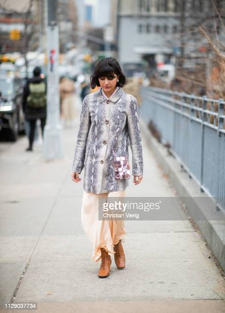 Maria Bernad is seen wearing jacket with snake print Paco Rabanne bag outside Zimmermann during New York Fashion Week Autumn Winter 2019 on February...