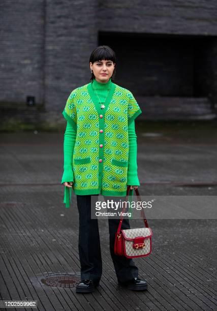 Maria Bernad seen wearing green sleeveless cardigan, turtleneck, Gucci bag, corduroy pants outside 7 Days on Day 1 during Copenhagen Fashion Week...
