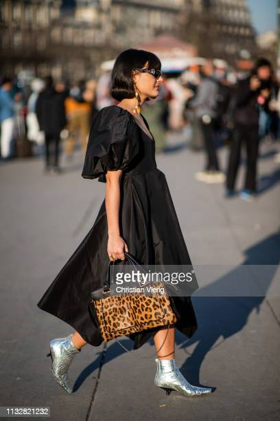 Maria Bernad wearing black dress bag with leopard animal print outside Rochas during Paris Fashion Week Womenswear Fall/Winter 2019/2020 on February...
