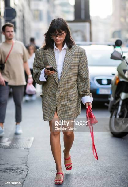 Maria Bernad wearing oversized blazer is seen outside Max Mara during Milan Fashion Week Spring/Summer 2019 on September 20 2018 in Milan Italy