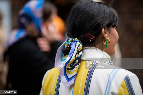 Maria Bernad wearing scarf in her hair seen outside Holzweiler during the Copenhagen Fashion Week Autumn/Winter 2019 Day 2 on January 30 2019 in...