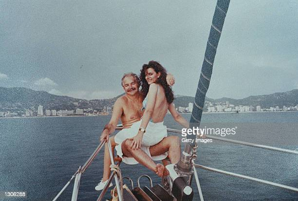 Maria Bernal and Raul Salinas relax on a sailing yacht in Acapulco Bay Mexico in 1992 Bernal had just arrived to Mexico for the first time from her...