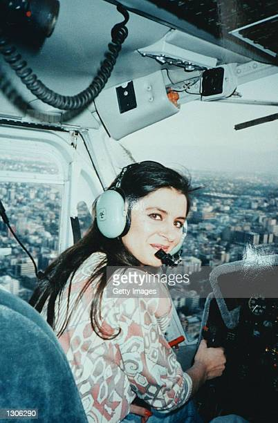 Maria Bernal former lover of Raul Salinas commands a helicopter belonging to Raul Salinas above Mexico City Mexico in 1993 Detailing corruption sex...