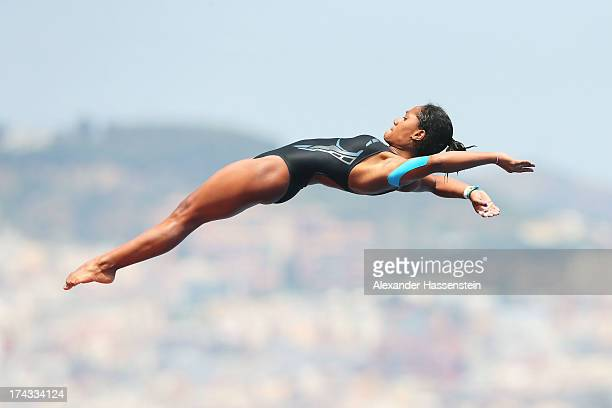 Maria Betancourt of Venezuela competes in the Women's 10m Platform Diving semi final on day five of the 15th FINA World Championships at Piscina...
