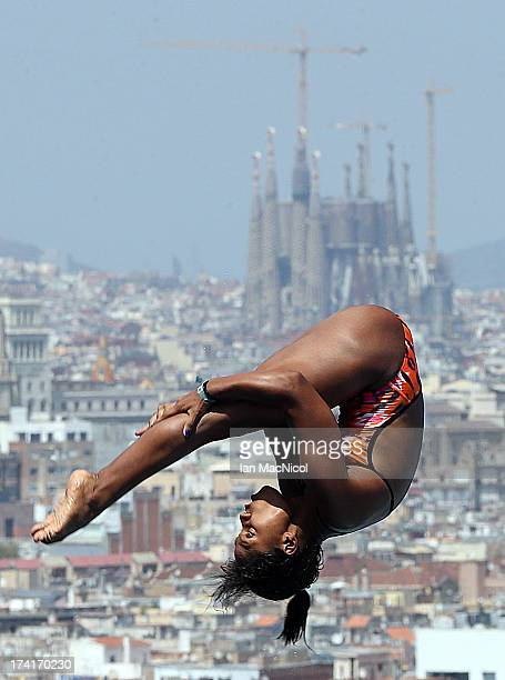 Maria Betancourt of Venuzuela competes in the preliminary round of The Women's 1m Springboard at The Piscina Municipal De Montjuic on day two of the...
