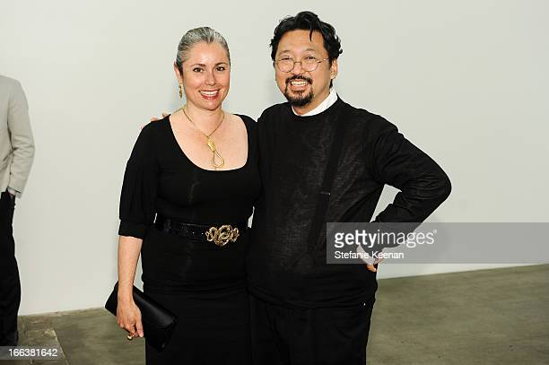 Maria Blum and Takashi Murakami attend the Takashi Murakami Private Preview at Blum Poe on April 11 2013 in Los Angeles California