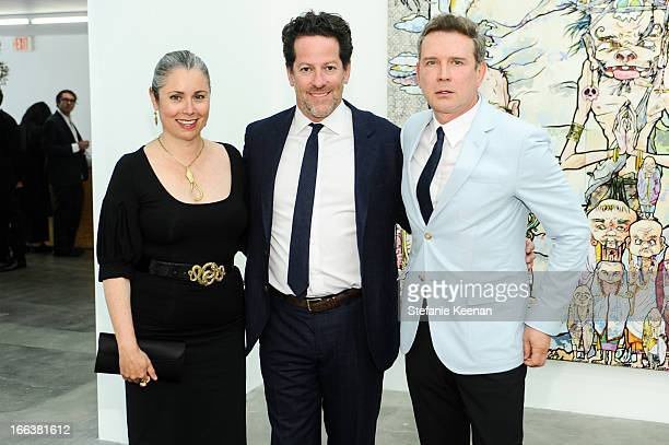 Maria Blum Tim Blum and Eugene Sadovoy attend the Takashi Murakami Private Preview at Blum Poe on April 11 2013 in Los Angeles California