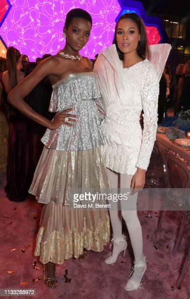 Maria Borges and Cindy Bruna attend the Fashion Trust Arabia Prize awards ceremony on March 28 2019 in Doha Qatar