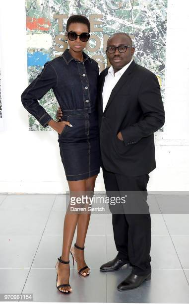 Maria Borges and Edward Enninful attend the Kent & Curwen show during London Fashion Week Men's June 2018 at 11 Floral Street on June 10, 2018 in...
