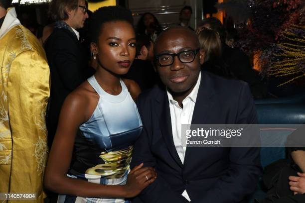Maria Borges and Edward Enninful attends the Pat McGrath 'A Technicolour Odyssey' Campaign launch party at Brasserie of Light Selfridges on April 04...