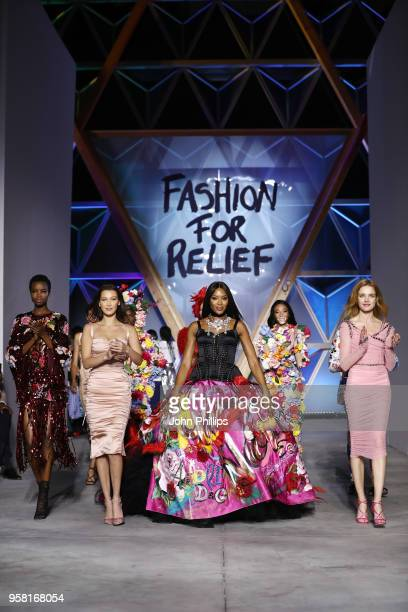 Maria Borges Bella Hadid Naomi Campbell and Natalia Vodianova walk the Runway at Fashion for Relief Cannes 2018 during the 71st annual Cannes Film...