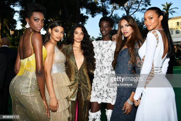Maria Borges Danielle Herrington Shanina Shaik Fatou Jobe guest and Lais Ribeiro attend the cocktail at the amfAR Gala Cannes 2018 at Hotel du...