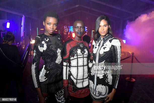 Maria Borges Grace Bol and Cindy Bruna attend L'Oreal Paris X Balmain Party as part of the Paris Fashion Week Womenswear Spring/Summer 2018 on...