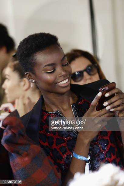 Maria Borges prepares backstage during Le Defile L'Oreal Paris as part of Paris Fashion Week Womenswear Spring/Summer 2019 on September 30 2018 in...