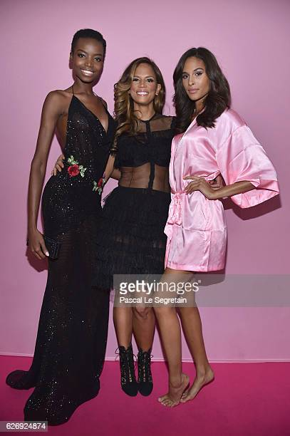 Maria Borges Veronica Web and Cindy Bruna attend the 2016 Victoria's Secret Fashion Show after party on November 30 2016 in Paris France