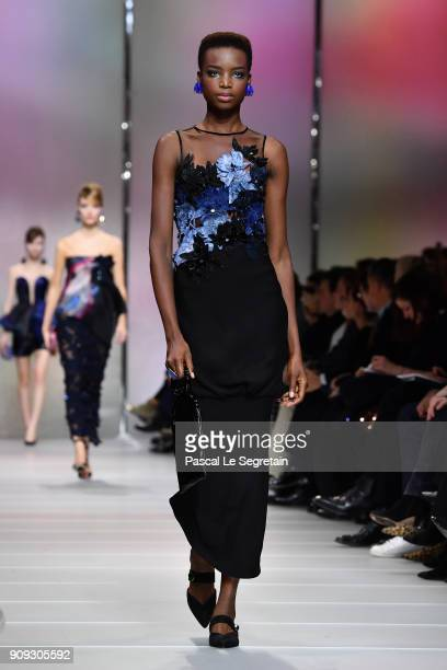 Maria Borges walks the runway during the Giorgio Armani Prive Spring Summer 2018 show as part of Paris Fashion Week on January 23 2018 in Paris France