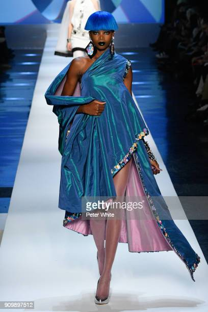 Maria Borges walks the runway during the JeanPaul Gaultier Spring Summer 2018 show as part of Paris Fashion Week on January 24 2018 in Paris France